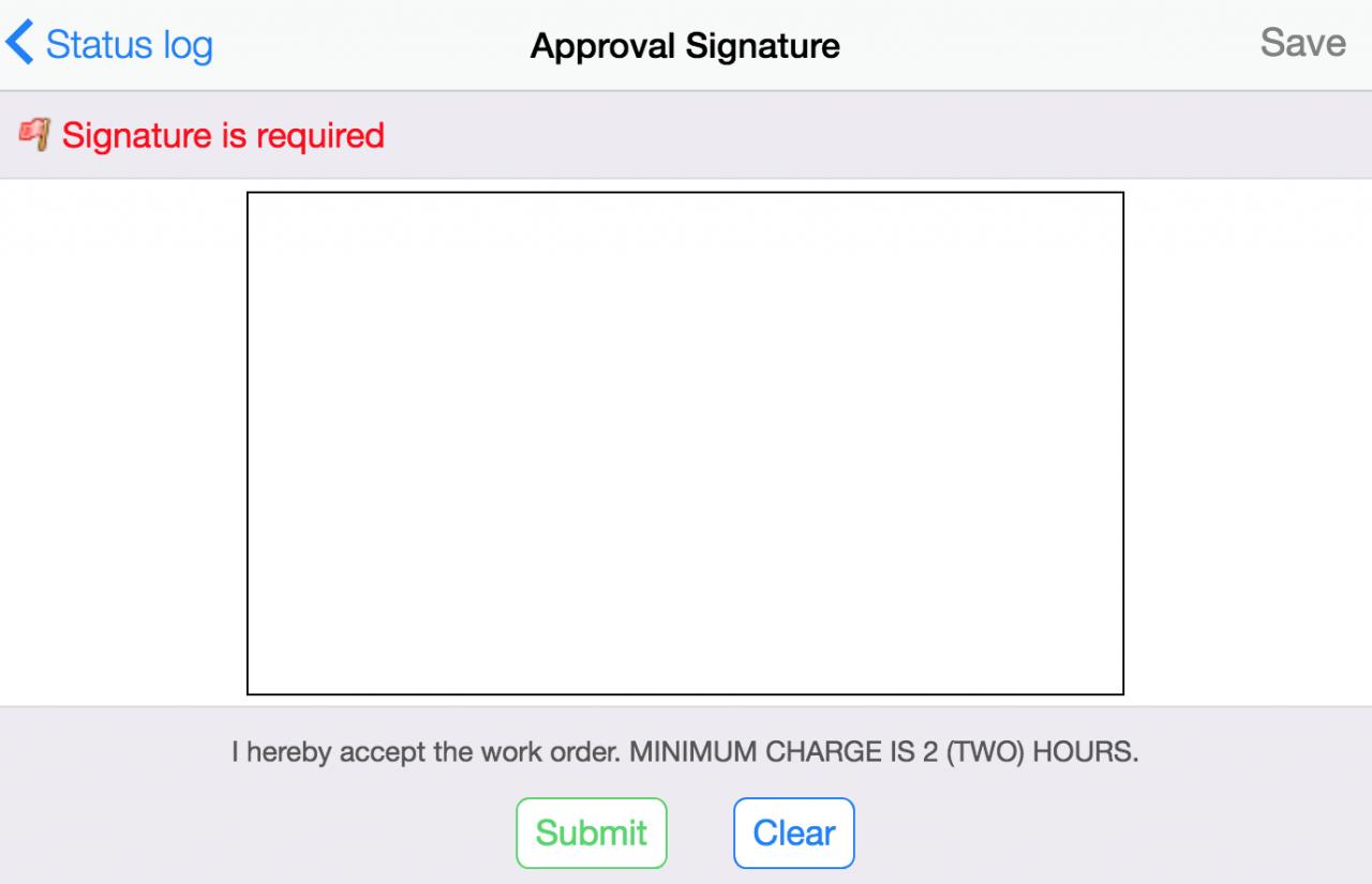 Work Order Acceptance Signature