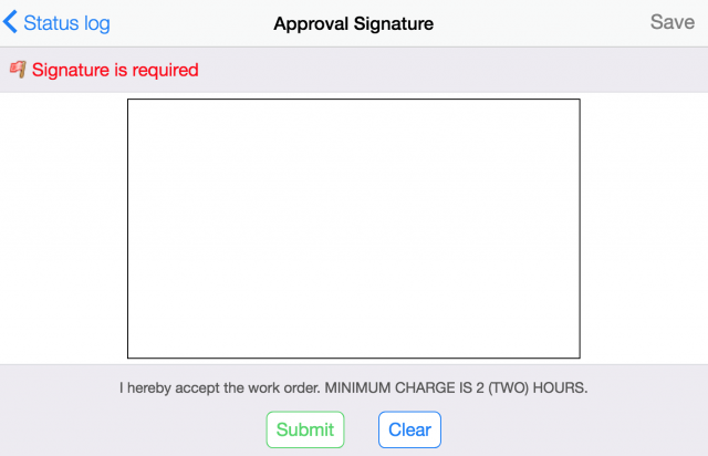 Work Order Acceptance Signature