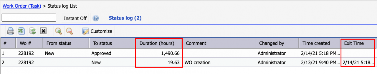 How to Report Work Order Status Duration