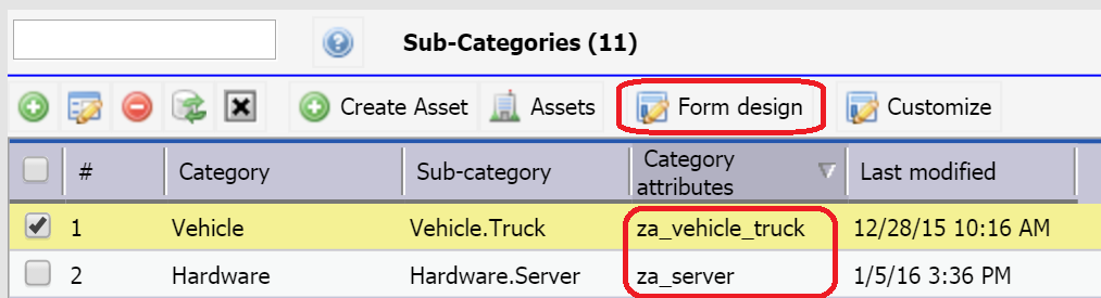 Asset Category Attributes