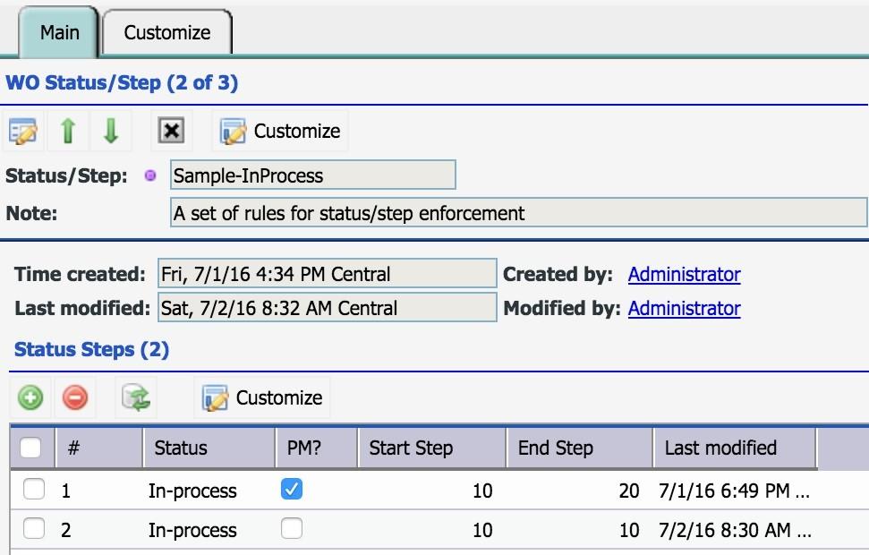 Work Order Step Enforcement by Status