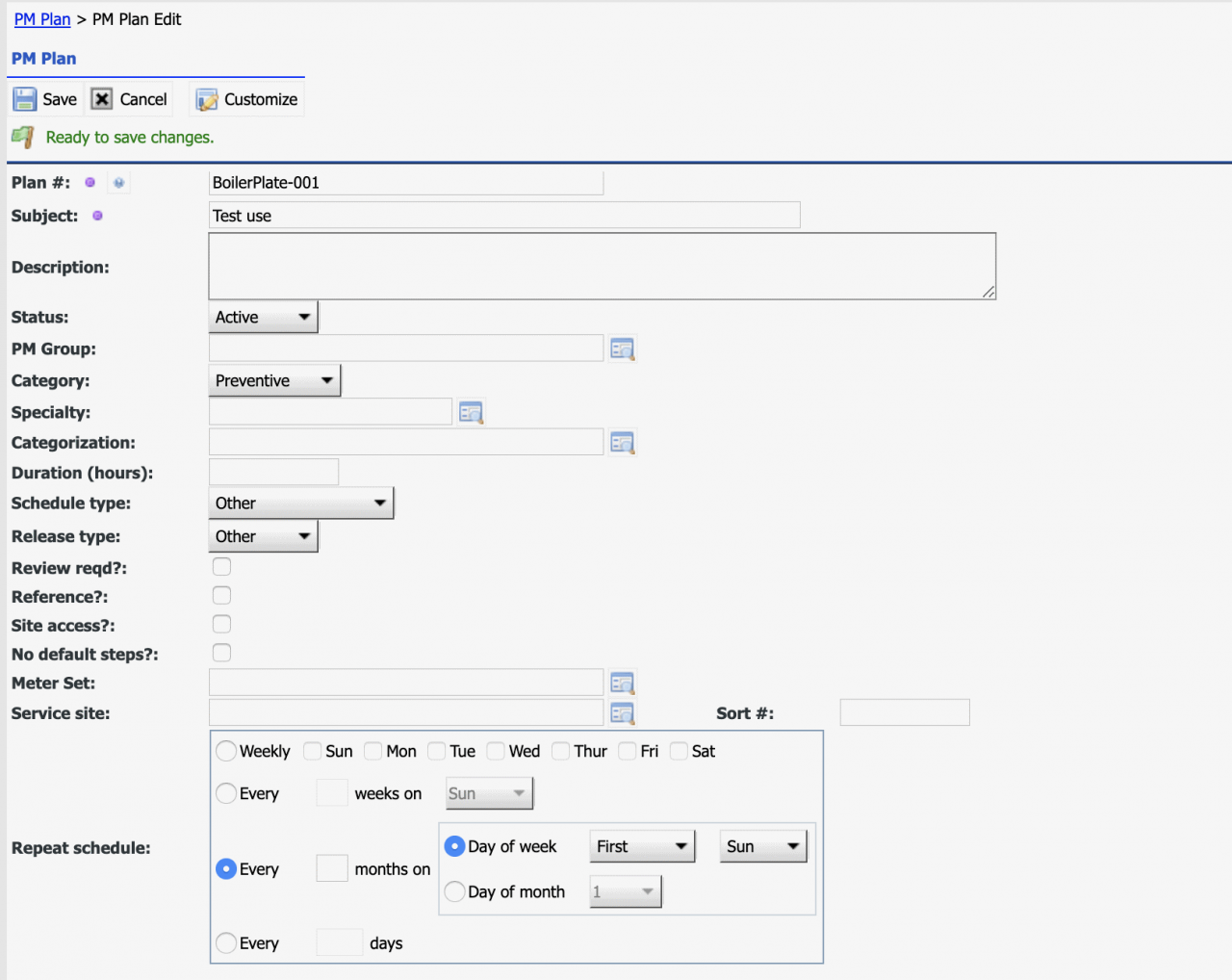 How to Configure Boilerplate Work Order Steps by PM Plans