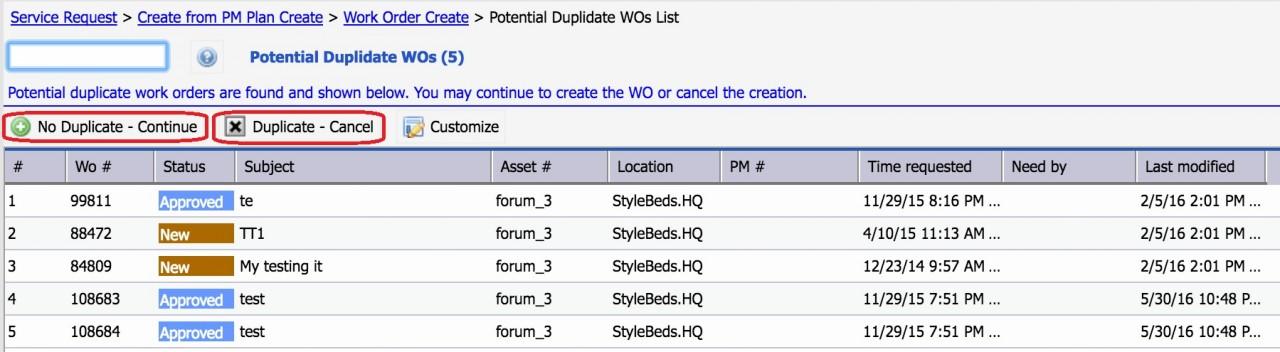 Work Order Duplicate Detection